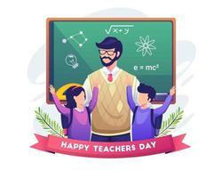 Happy students congratulate their teacher vector illustration