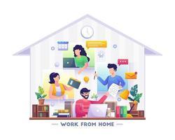 people remote working on laptop scene. vector illustration