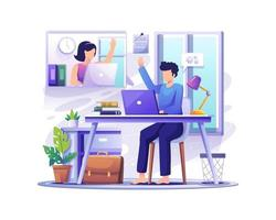 young man and woman remote working on the laptop illustration vector