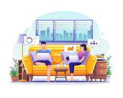 hombre y mujer sentados en el sofá trabajando en computadoras portátiles en casa ilustración vector