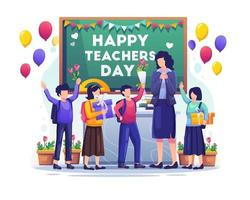 Kids students give flowers to their teacher vector illustration