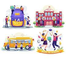 Set bundle of Back to school concept design. Flat vector illustration