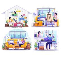 paquete de trabajo desde casa con personas en la computadora portátil. ilustración vectorial vector