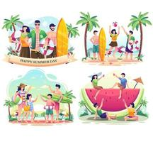 Set bundle of Summer day with People on the beach. vector illustration