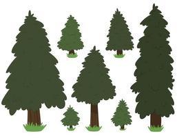 SET Cartoon Nature Tree Fir Isolated vector