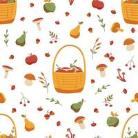 Seamless autumn pattern with mushrooms and fruits vector