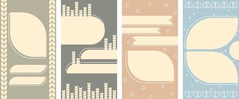 conjunto de fondo vertical abstracto pastel en un estilo de trigo. vector