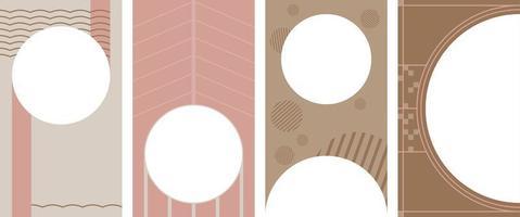 conjunto de fondo vertical abstracto pastel en estilo minimalista vector