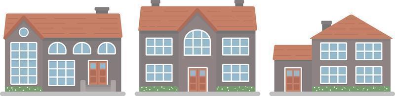 Modern family house. Exterior design. Flat style vector illustration.