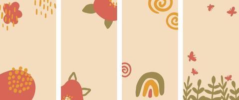 conjunto de fondo vertical abstracto pastel en estilo minimalista acogedor. vector