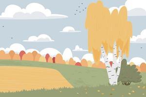 Flat autumn nature landscape illustration. for poster, postcard, web vector