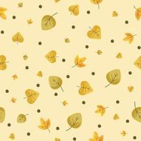 Precioso patrón de hojas de otoño en colores cálidos y claros, repetición perfecta. vector