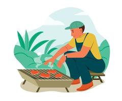 Man Grill the Barbecue Meat While Camping Outdoor. vector
