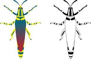 Ilustración de vector de saltamontes o langosta