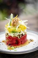 pimiento rojo asado con quinoa naranja y nuez tapas veganas saludables aperitivo snack foto