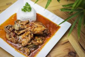 Basque style spicy 3 chicken and vegetable casserole stew meal on wooden table photo