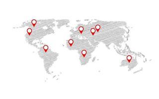 Ilustración de vector de plantilla de negocio de infografía de mapa de boceto mundial