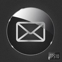 icono de botón de correo de vidrio sobre fondo de metal. ilustración vectorial vector