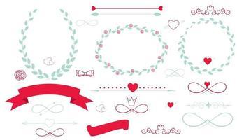 Conjunto de elementos gráficos de boda con flechas, corazones, laurel, vector