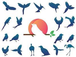 Birds silhouette With Logo Gradient vector
