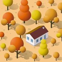 Isometric autumnal city with houses and streets with trees vector