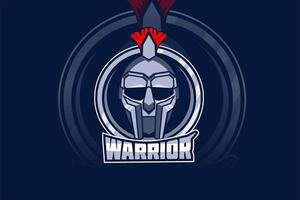 logotipo de la mascota del equipo warrior e-sports vector