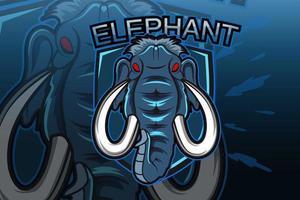 E-sports team logo template with elephant vector