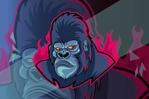 crazy gorilla esport and sport mascot logo vector