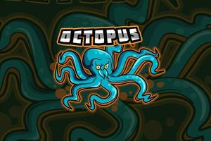 octopus mascot for sports and esports logo isolated on dark background vector
