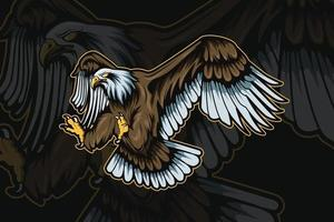 eagle mascot for sports and esports logo isolated on dark background vector