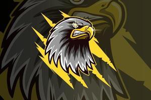 head eagle mascot esport logo hand drawing vector