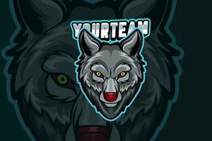 plantilla de logotipo de equipo de deportes electrónicos de scream wolf vector