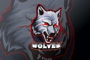 plantilla de logotipo de equipo de deportes electrónicos de lobos vector