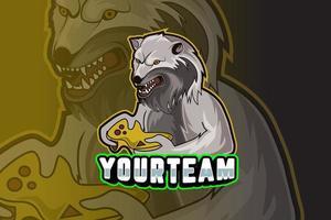 plantilla de logotipo del equipo de deportes electrónicos de lobo vector