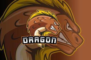 plantilla de logotipo de dragon e-sports team vector
