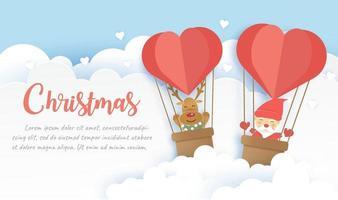 pancarta navideña con una linda santa claus y amigos en papel cortado. vector