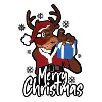 Colorful Santa Hat Christmas deer gift vector