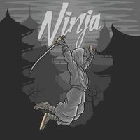 Ninja volando con espada y fondo edificio antiguo en chino vector