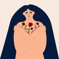 Young woman lovingly hugs herself and her body. Love yourself vector