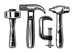 mini set de martillos de carpintero vector