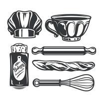 mini conjunto de ilustración vectorial de herramientas de panadería vector