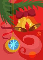 Poster with christmas tree ball and bells. Holiday postcard design. vector