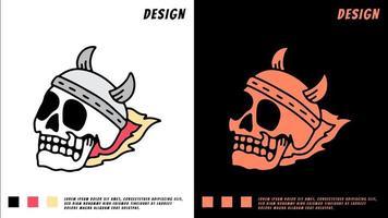 skull head with viking helmet and fire, illustration for t-shirt vector