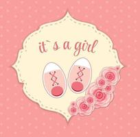 Vector Illustration of Pink Baby Shoes for Newborn Girl