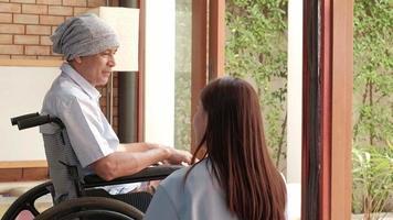 pacientes oncológicos en silla de ruedas tratamiento de rehabilitación a domicilio. video