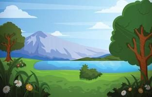 Scenery of Green Nature with Mountain and Lake vector