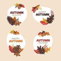 Autumn Pinecone Sticker Set vector