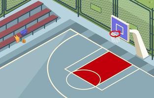 Outdoor Basketball Court Background Concept vector