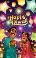 Happy Diwali Festival of Lights Concept vector