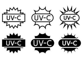 UV sterilization stamp. Sanitation device information sign. UV radiation, solar ultraviolet icons. Antimicrobial UVC Light Sanitation. Surface cleaning badges. Vector